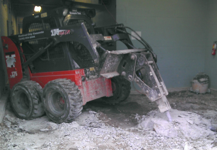 Front End Loader with Drilling Attachment